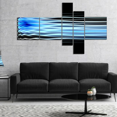 Designart Light Blue Fractal Waves Multipanel Abstract Art On Canvas - 5 Panels