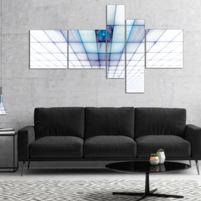 Designart Light Blue Laser Protective Grids Multipanel Abstract Canvas Art Print - 4 Panels