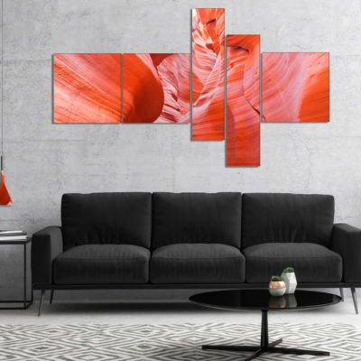 Designart Antelope Canyon Walls Multipanel Landscape Photo Canvas Art Print - 5 Panels