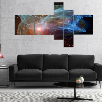 Designart Light Blue Lights Of Network MultipanelAbstract Canvas Art Print - 5 Panels