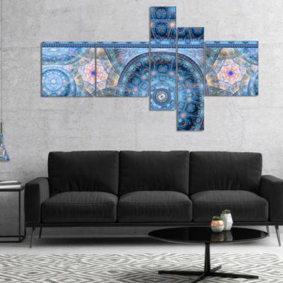 Designart Light Blue Living Cells Fractal DesignMultipanel Abstract Canvas Art Print - 5 Panels