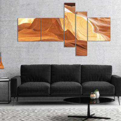 Designart Antelope Canyon With Light Rays Multipanel Landscape Photography Canvas Print - 5 Panels