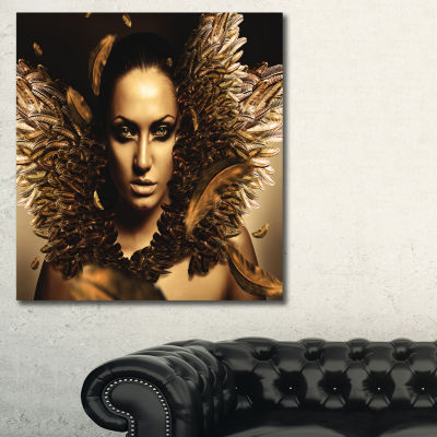 Designart Sexy Brunette Digital Art Portrait Canvas Print - 3 Panels