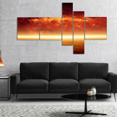 Designart Apocalyptic Background Multipanel Spacescape Canvas Art Print - 4 Panels