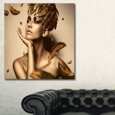 Designart Sexy Woman In Gold Hat Sensual Canvas Art Print
