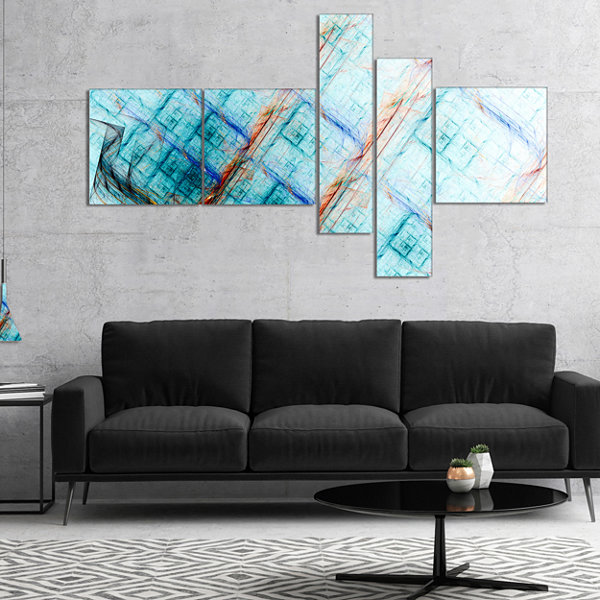 Designart Light Blue Metal Grill Multipanel Abstract Art On Canvas - 5 Panels