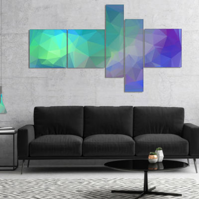 Designart Light Blue Polygonal Mosaic Pattern Multipanel Abstract Canvas Art Print - 5 Panels