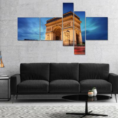 Designart Arch Of Triumph In Paris Multipanel Landscape Photo Canvas Art Print - 4 Panels