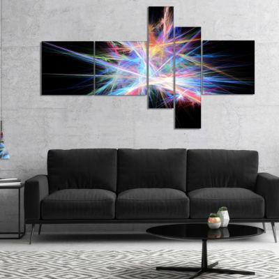 Designart Light Blue Spectrum Of Light MultipanelAbstract Canvas Art Print - 5 Panels