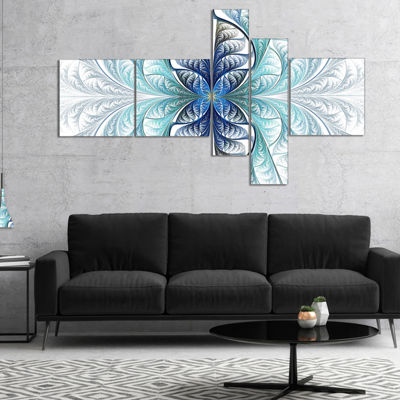 Designart Light Blue Stained Glass Texture Multipanel Abstract Canvas Art Print - 5 Panels