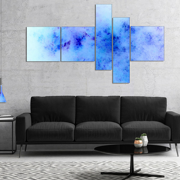 Designart Light Blue Starry Fractal Sky MultipanelAbstract Canvas Artwork Print - 5 Panels
