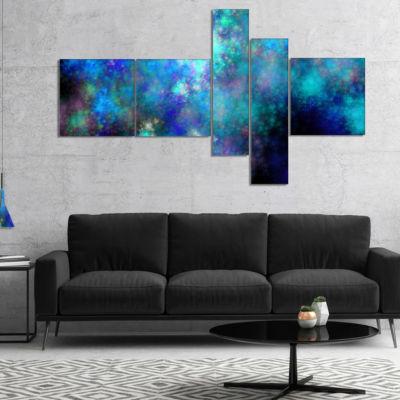Designart Light Blue Starry Fractal Sky MultipanelBlue Multipanel Abstract Canvas Art Print - 5 Panels