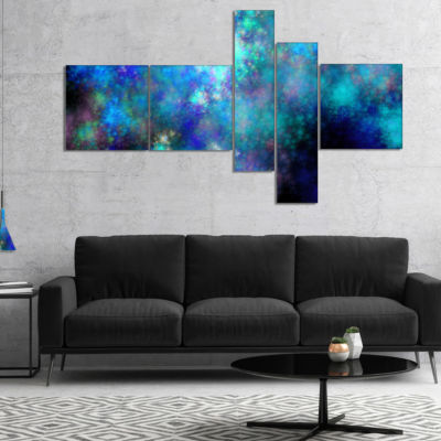 Designart Light Blue Starry Fractal Sky MultipanelContemporary Canvas Art Print - 4 Panels