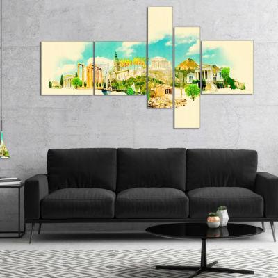 Designart Athens Panoramic View Multipanel Cityscape Watercolor Canvas Print - 4 Panels
