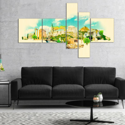 Designart Athens Panoramic View Multipanel Cityscape Watercolor Canvas Print - 5 Panels