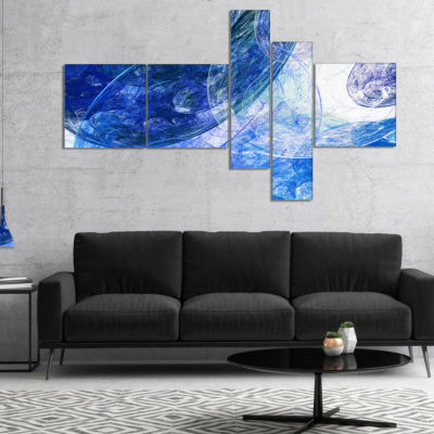 Designart Light Blue Swirling Clouds Multipanel Abstract Canvas Art Print - 5 Panels