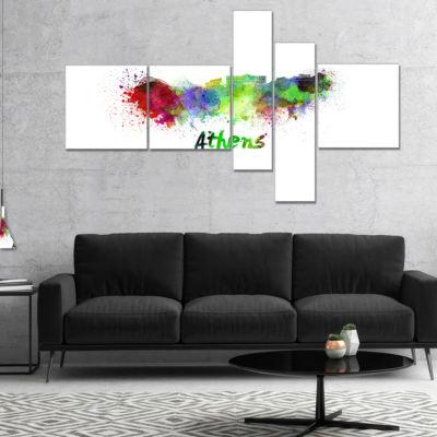 Designart Athens Skyline Multipanel Cityscape Canvas Artwork Print - 4 Panels
