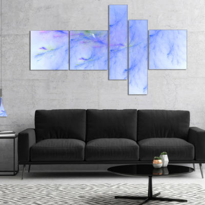 Designart Light Blue Veins Of Marble Multipanel Abstract Wall Art Canvas - 5 Panels