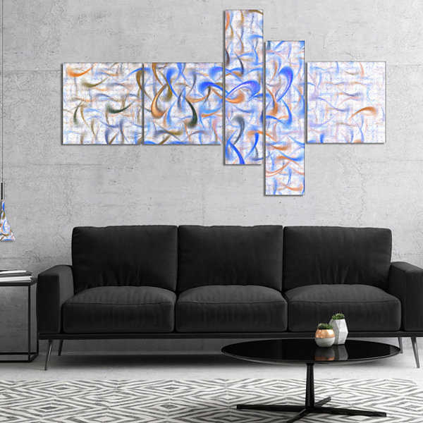 Designart Light Blue Watercolor Fractal Art Multipanel Abstract Art On Canvas - 4 Panels