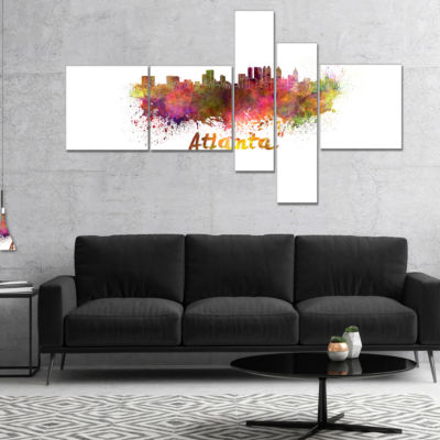 Designart Atlanta Skyline Multipanel Cityscape Canvas Artwork Print - 4 Panels