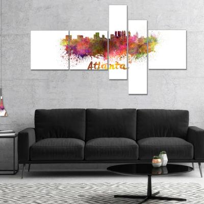 Designart Atlanta Skyline Multipanel Cityscape Canvas Artwork Print - 5 Panels
