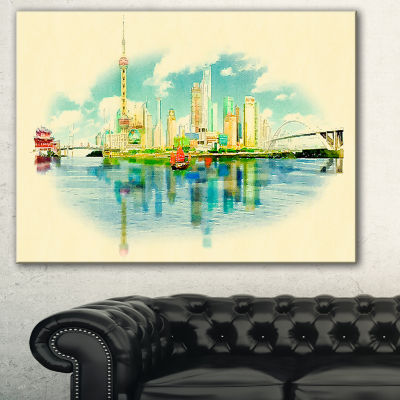 Designart Shanghai Panoramic View Cityscape Watercolor Canvas Print
