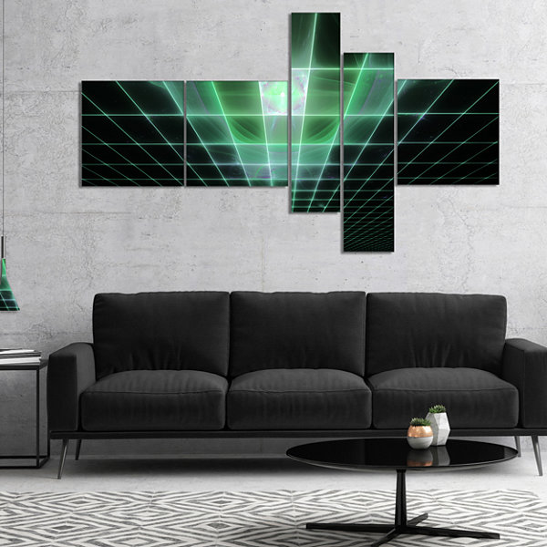 Designart Light Green Bat On Radar Screen Multipanel Abstract Canvas Art Print - 4 Panels