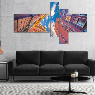 Designart Authentic Dutch Architecture MultipanelExtra Large Canvas Art Print - 5 Panels