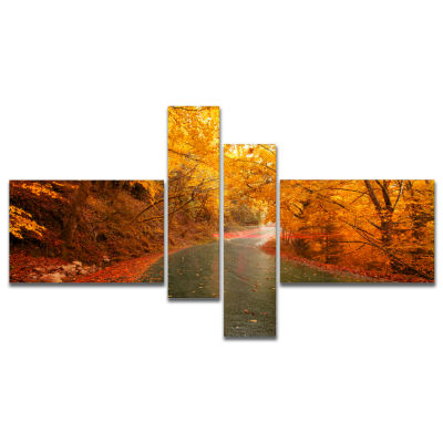 Designart Autumn Light Trails On Road Multipanel Landscape Photography Canvas Print - 4 Panels
