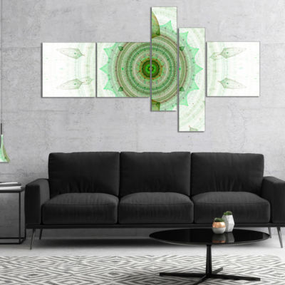 Designart Light Green Cryptical Sphere MultipanelAbstract Wall Art Canvas - 4 Panels
