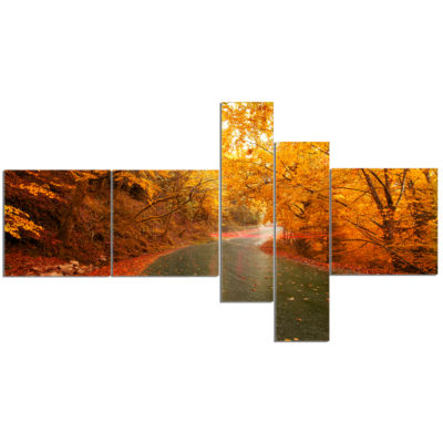 Designart Autumn Light Trails On Road Multipanel Landscape Photography Canvas Print - 5 Panels