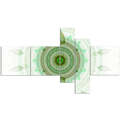 Designart Light Green Cryptical Sphere MultipanelAbstract Wall Art Canvas - 5 Panels