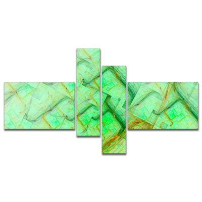Designart Light Green Electric Lightning Multipanel Abstract Art On Canvas - 4 Panels