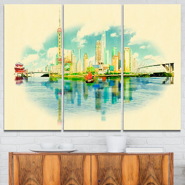Designart Shanghai Panoramic View Cityscape Watercolor Canvas Print - 3 Panels