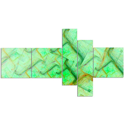 Design Art Light Green Electric Lightning Multipanel Abstract Art On Canvas - 5 Panels
