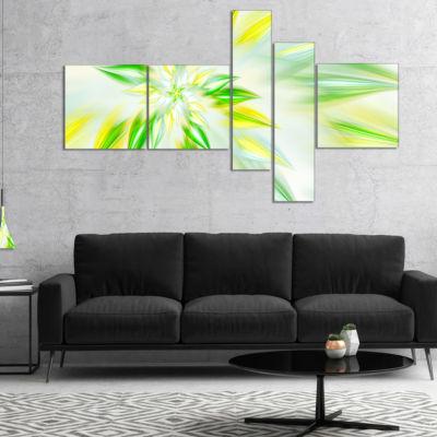 Designart Light Green Fractal Spiral Flower Multipanel Abstract Canvas Art Print - 5 Panels