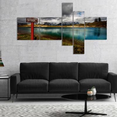 Designart Azure Mountain Lake With Clouds Multipanel Landscape Canvas Art Print - 5 Panels