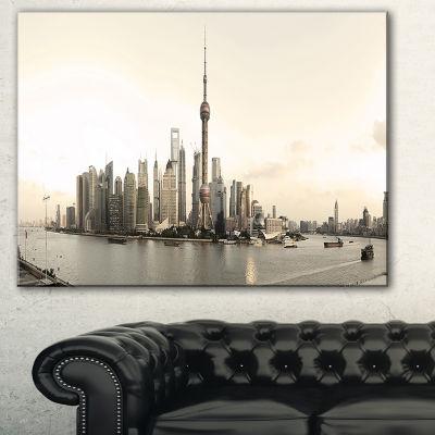 Designart Shanghai S Modern Architecture CityscapePhoto Canvas Print