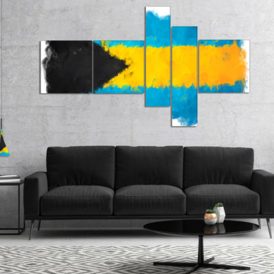 Designart Bahamas Flag Illustration Multipanel Flag Painting Canvas Print - 4 Panels