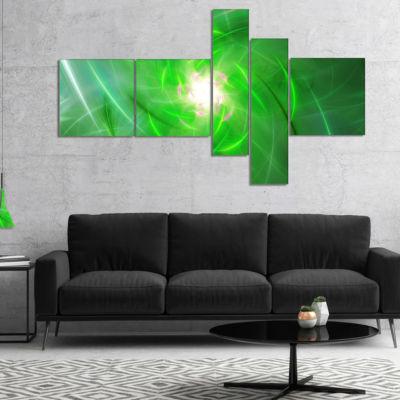 Designart Light Green Fractal Whirlpool MultipanelAbstract Wall Art Canvas - 5 Panels