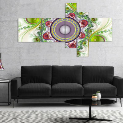 Designart Light Green Pattern With Circles Multipanel Abstract Canvas Art Print - 4 Panels