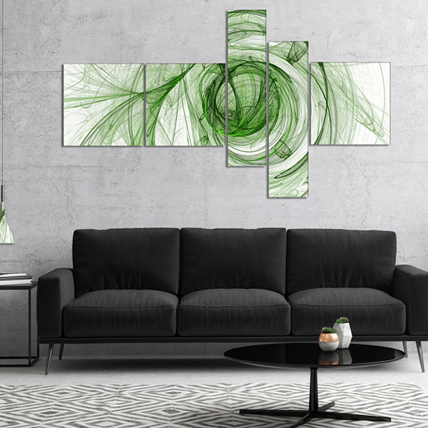Designart Ball Of Yarn Green Spiral Multipanel Abstract Canvas Art Print - 4 Panels