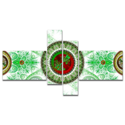 Design Art Light Green Psychedelic Relaxing Art Multipanel Abstract Canvas Art Print - 4 Panels