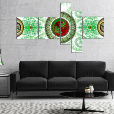 Designart Light Green Psychedelic Relaxing Art Multipanel Abstract Canvas Art Print - 5 Panels