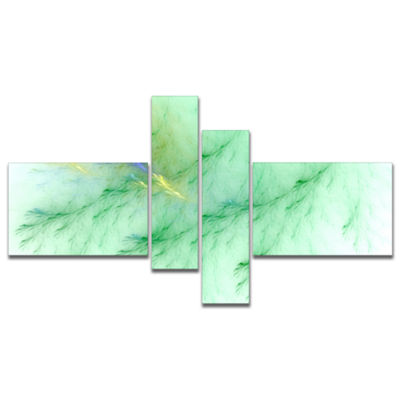Designart Light Green Veins Of Marble MultipanelAbstract Wall Art Canvas - 4 Panels