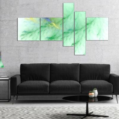 Design Art Light Green Veins Of Marble MultipanelAbstract Wall Art Canvas - 5 Panels
