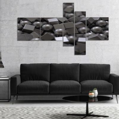 Designart Balls And Cubes 3D Design Multipanel Abstract Canvas Art Print - 5 Panels