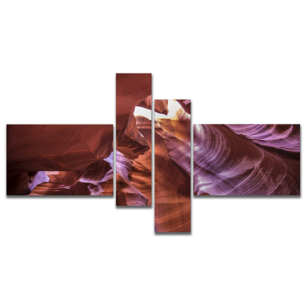 Designart Light In Antelope Canyon Multipanel Landscape Photo Canvas Art Print - 4 Panels