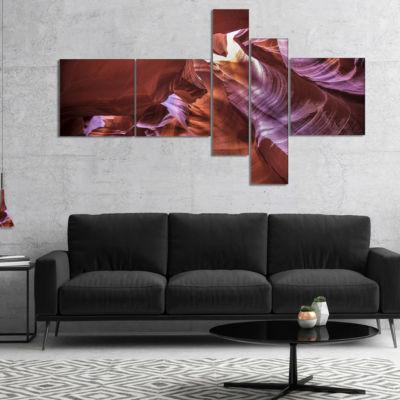 Designart Light In Antelope Canyon Multipanel Landscape Photo Canvas Art Print - 5 Panels
