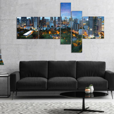 Designart Bangkok City Skyline Multipanel Cityscape Canvas Art Print - 5 Panels